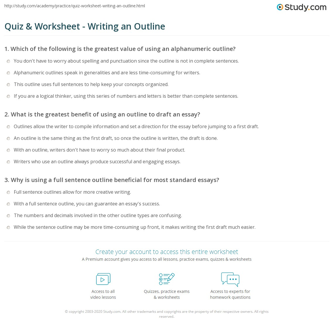 Quiz Worksheet Writing an Outline – Outline Worksheet