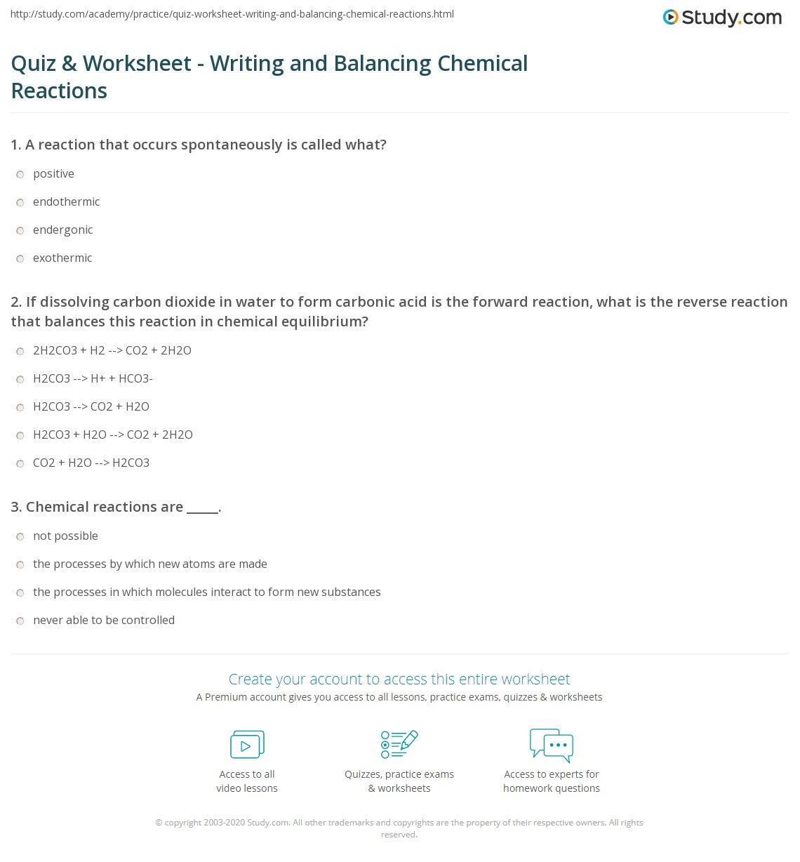 Quiz Worksheet Writing and Balancing Chemical Reactions – Balancing Chemical Equations Worksheet 3