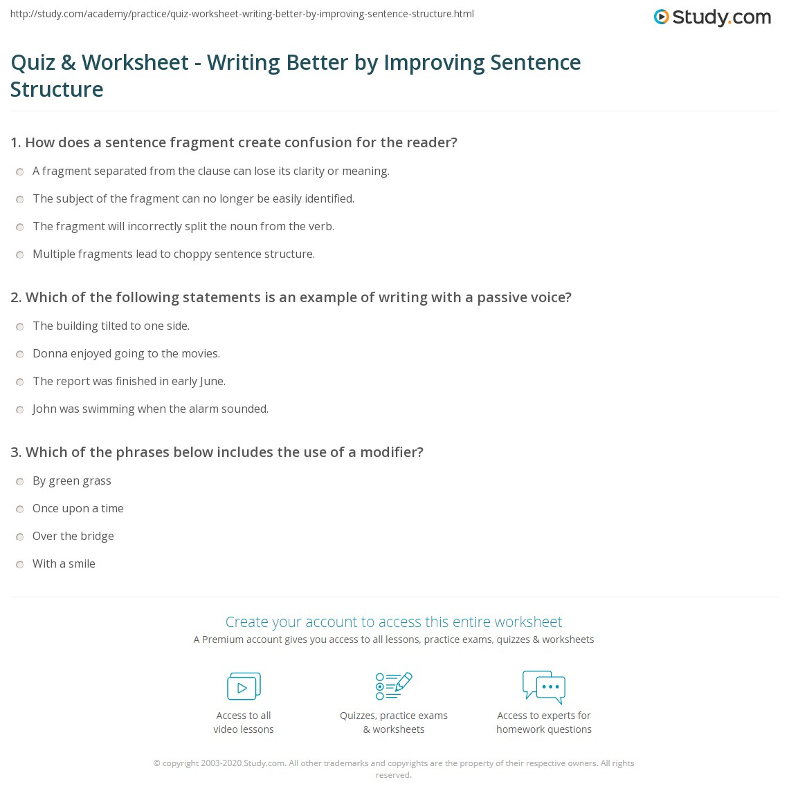 Quiz Worksheet Writing Better by Improving Sentence Structure – Sentence Structure Worksheets