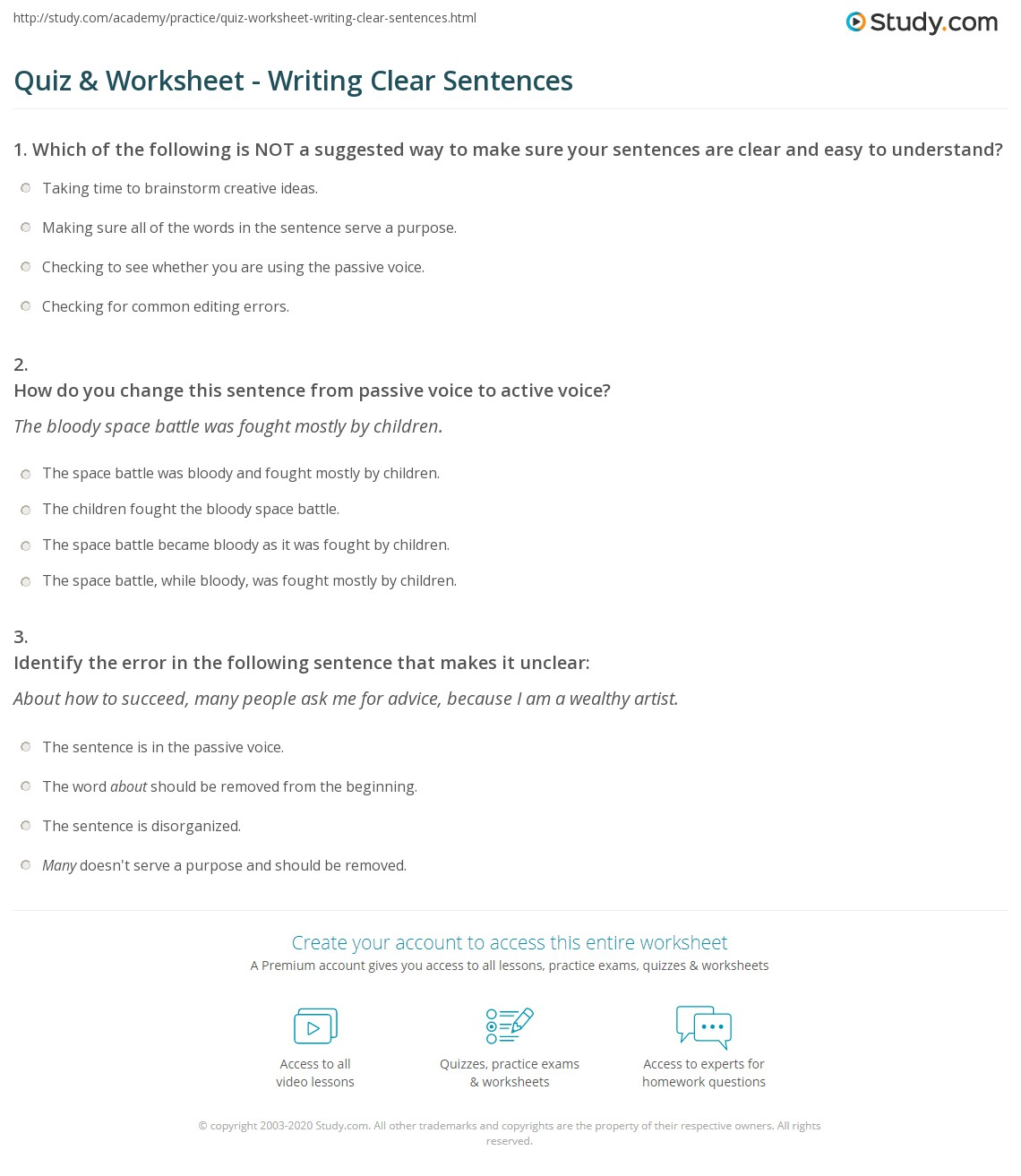 Quiz Worksheet Writing Clear Sentences – Writing Checks Worksheet