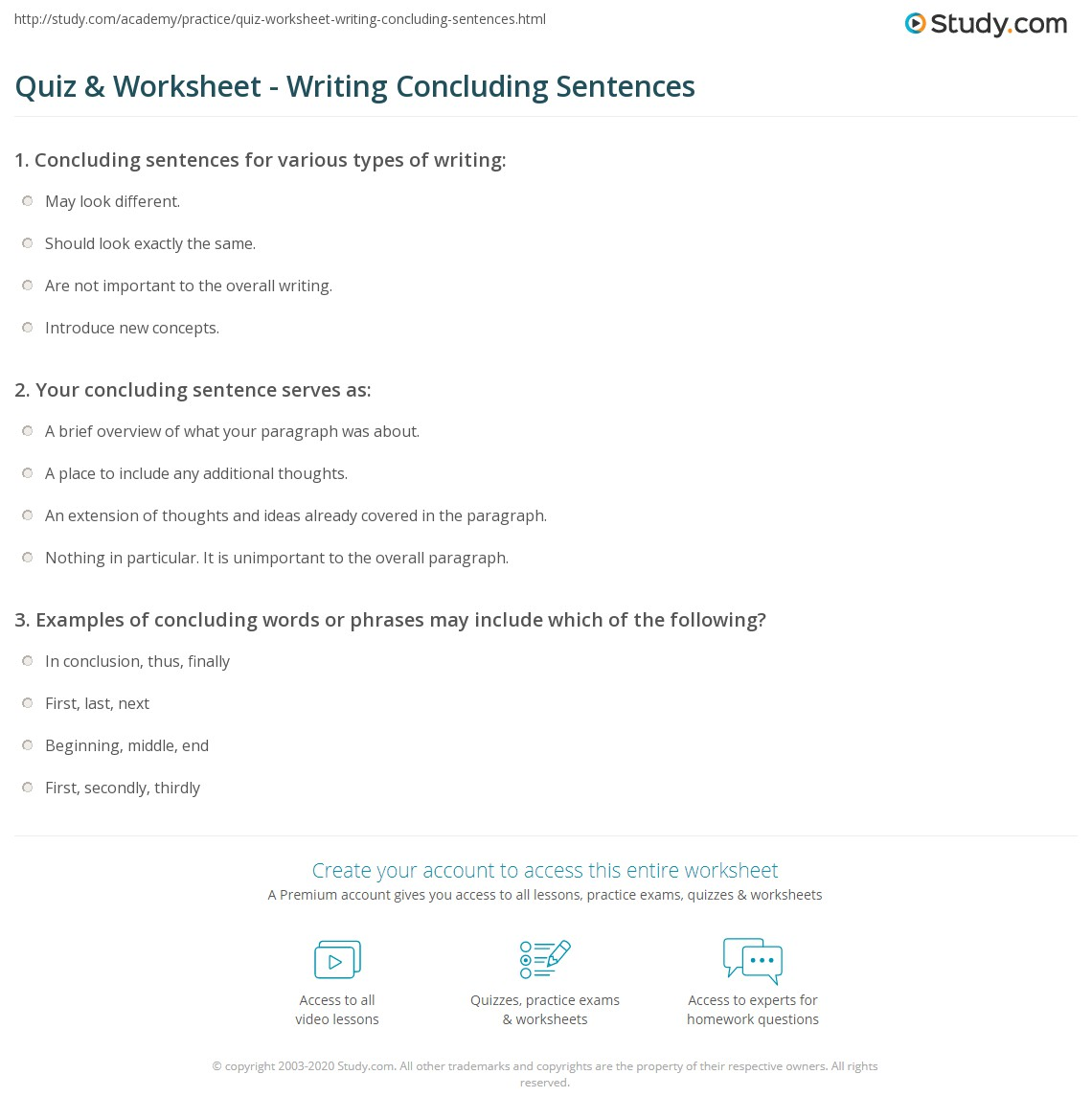 Quiz Worksheet Writing Concluding Sentences – Writing Sentences Worksheets