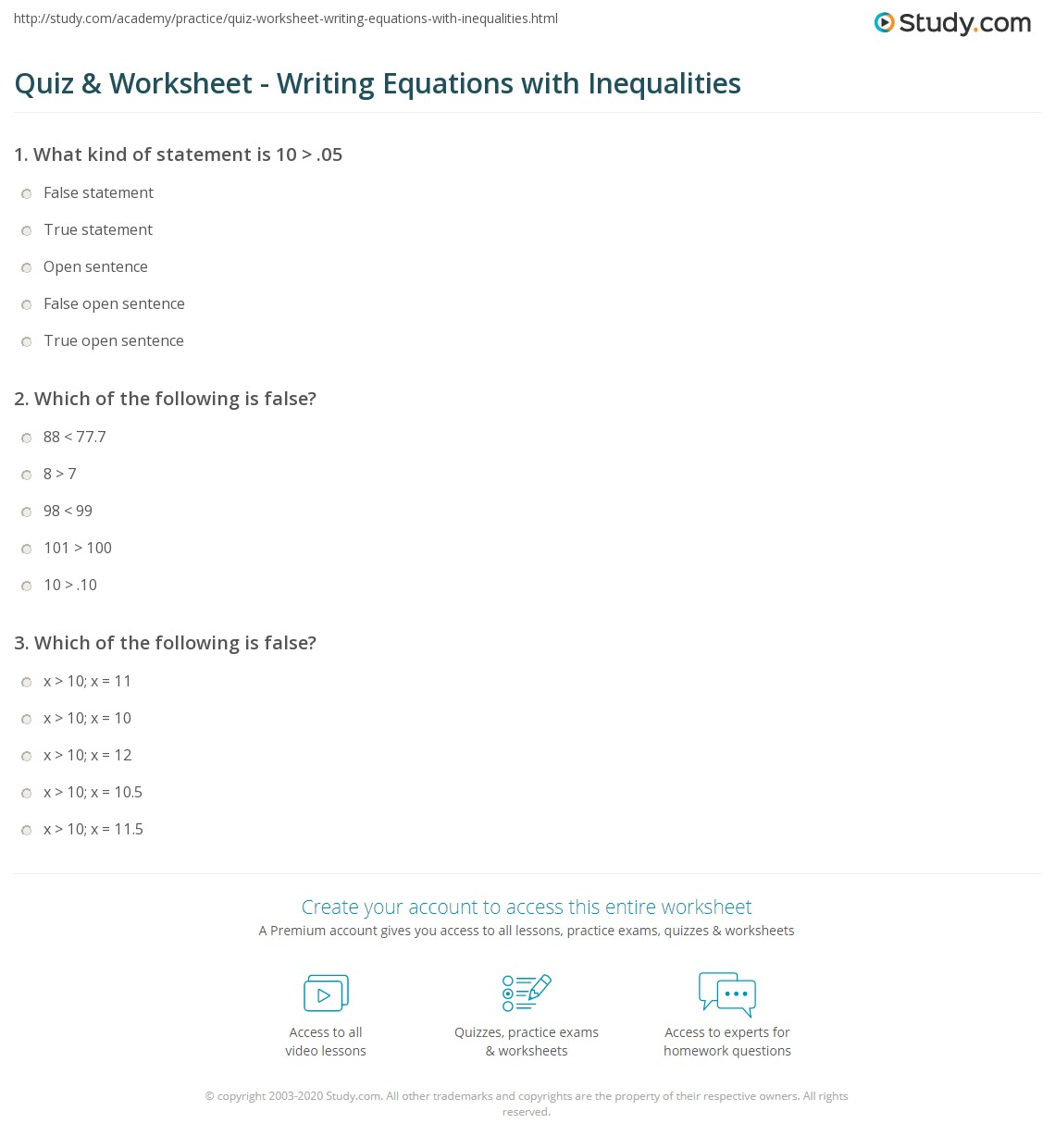 Printables Expressions Equations And Inequalities Worksheets quiz worksheet writing equations with inequalities study com print open sentences and truefalse statements worksheet