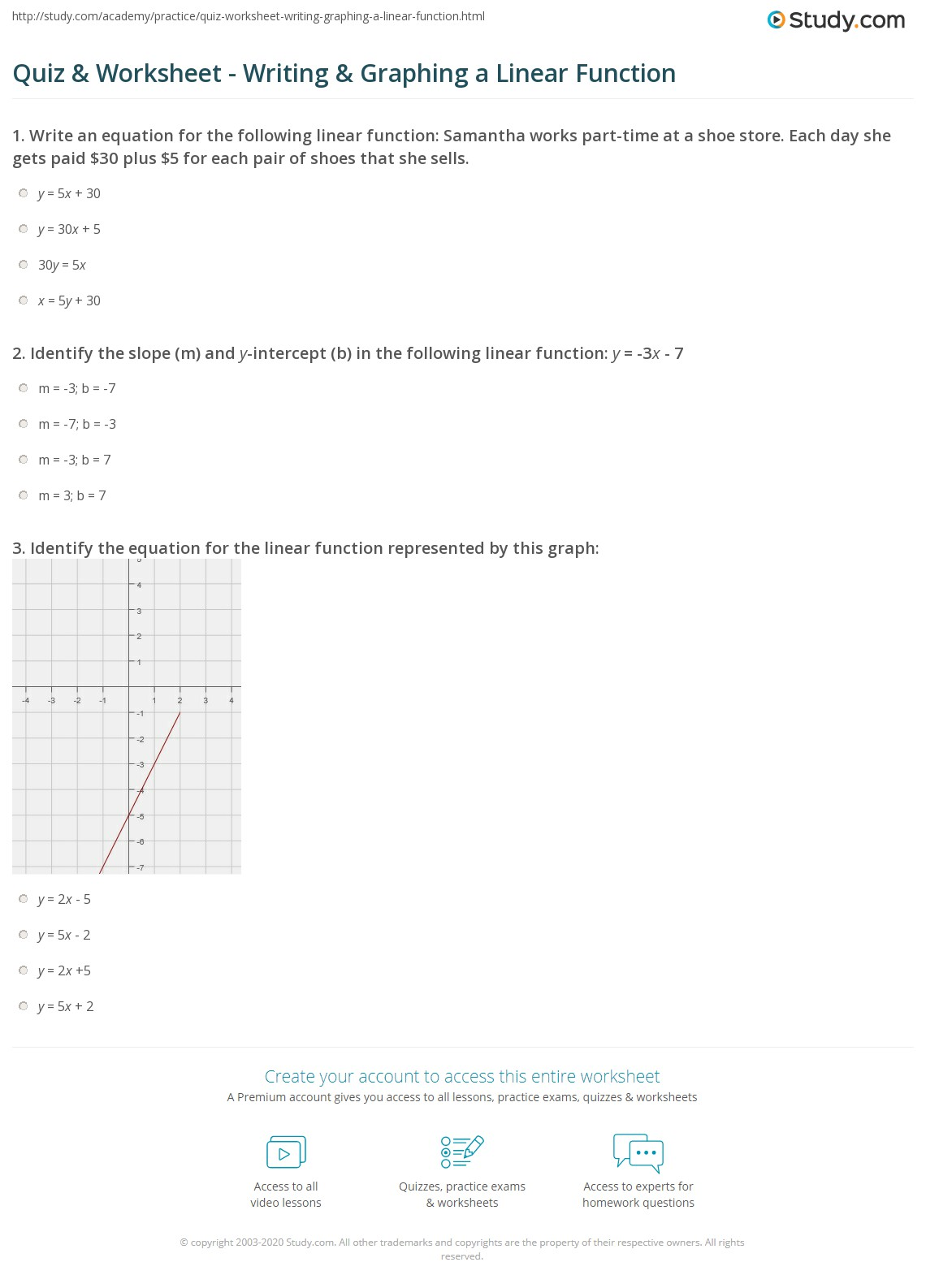 Quiz Worksheet Writing Graphing a Linear Function – Y Intercept Worksheet