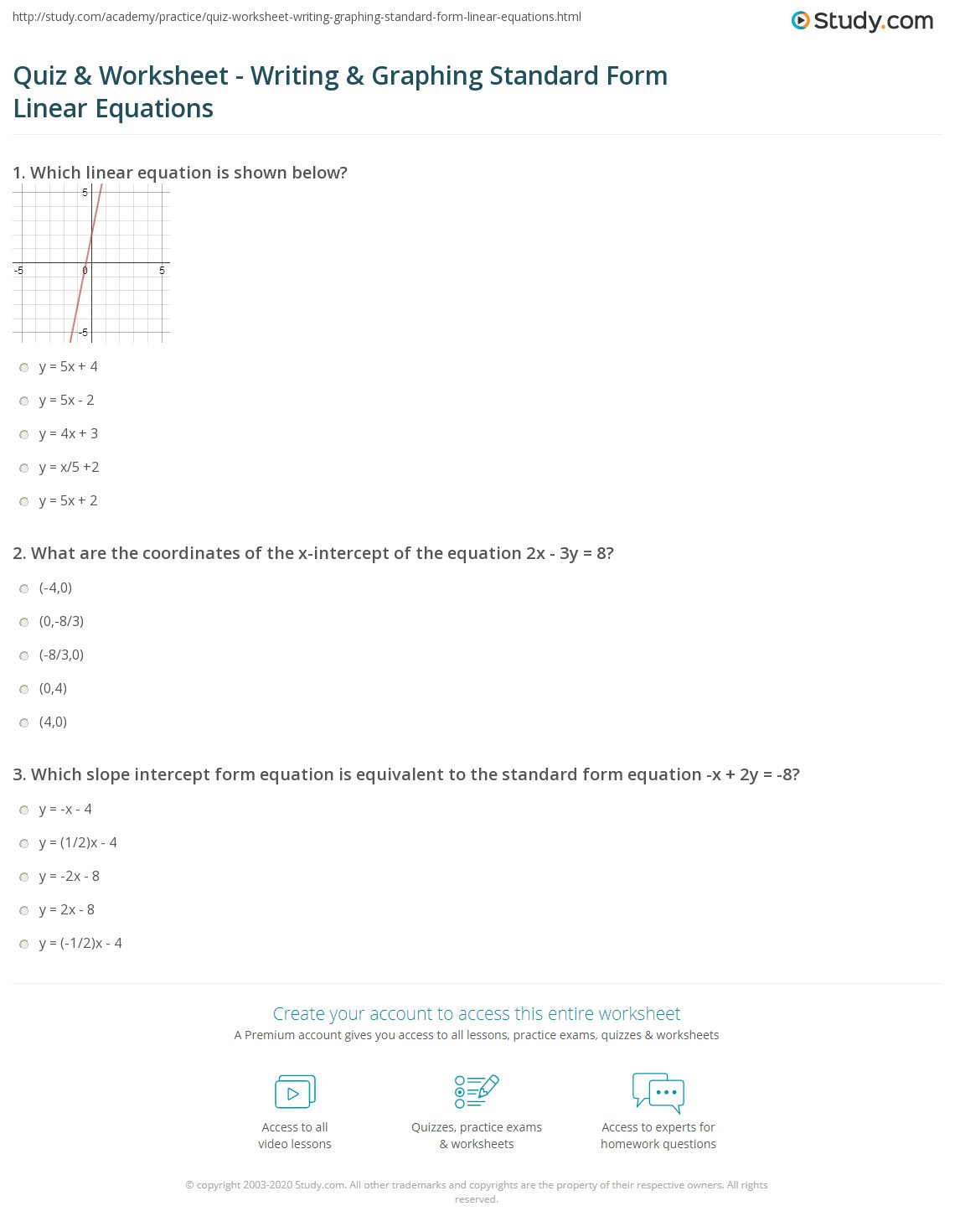 Quiz Worksheet Writing Graphing Standard Form Linear – Writing Linear Equations Worksheet