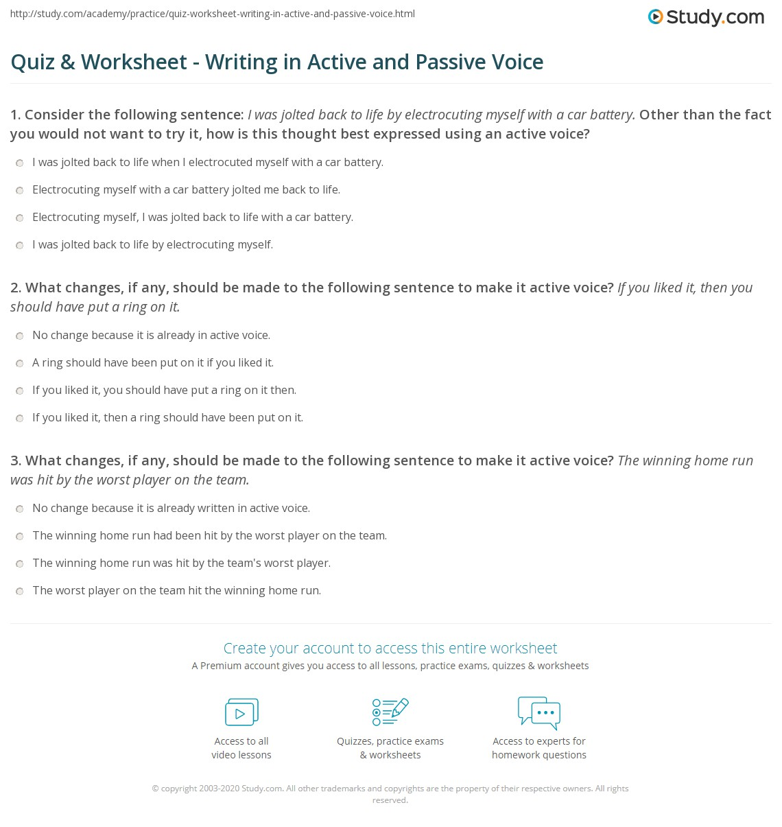 Quiz & Worksheet - Writing in Active and Passive Voice | Study.com