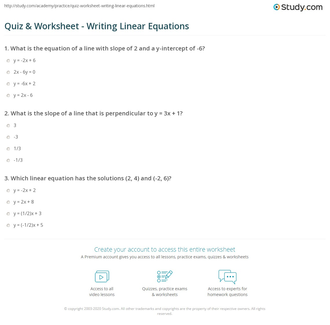 Quiz Worksheet Writing Linear Equations – Equation of a Line Worksheet