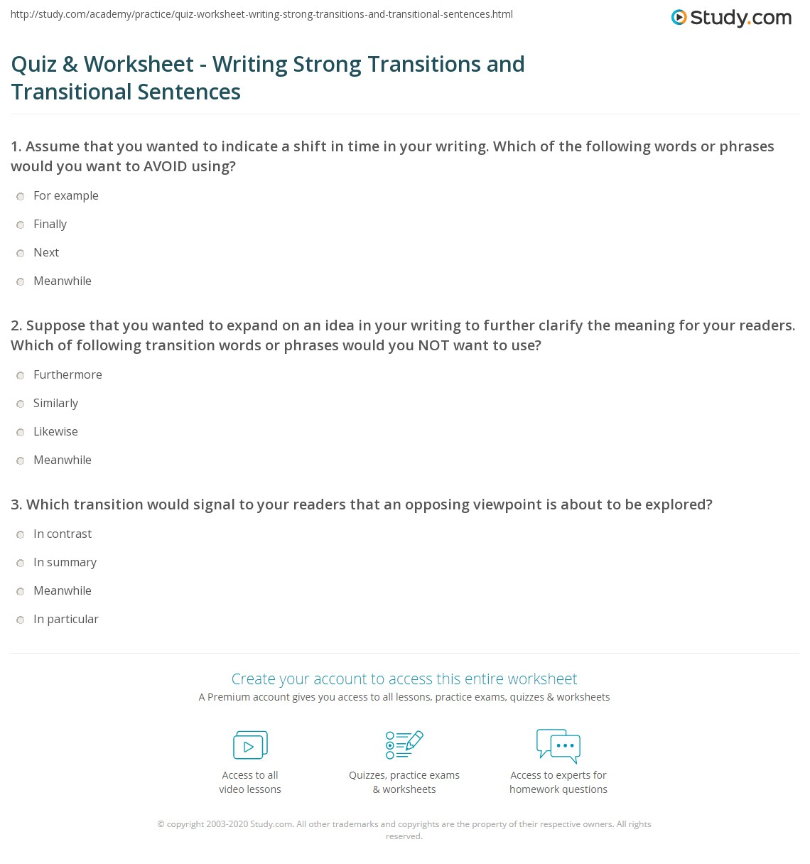 worksheet Transitional Words And Phrases Worksheet quiz worksheet writing strong transitions and transitional print how to write sentences worksheet