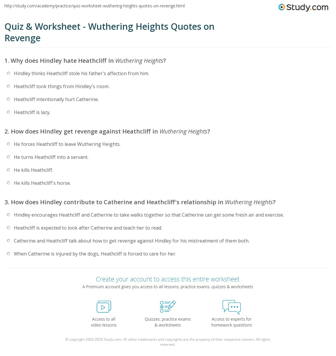quiz worksheet wuthering heights quotes on revenge com print wuthering heights quotes about revenge worksheet