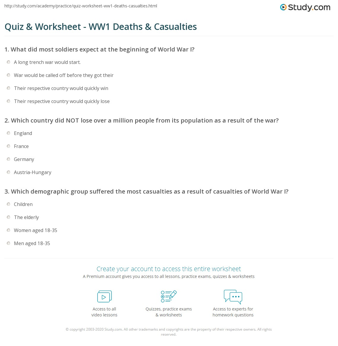 Quiz & Worksheet - WW1 Deaths & Casualties | Study.com