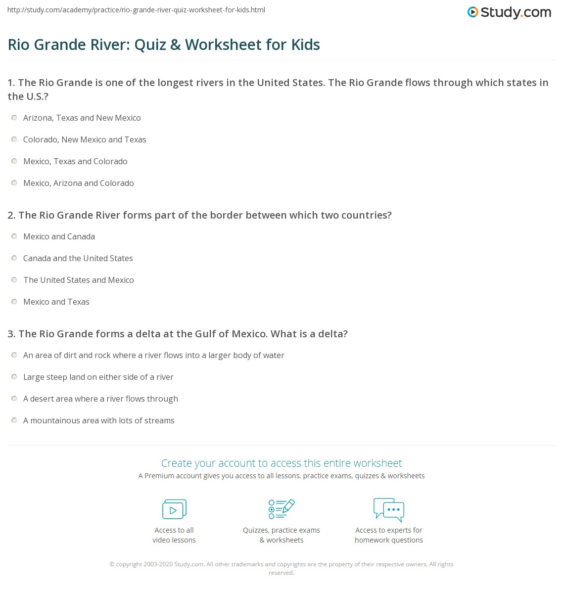 Rio Grande River Quiz Worksheet For Kids Studycom - Two longest rivers in the united states