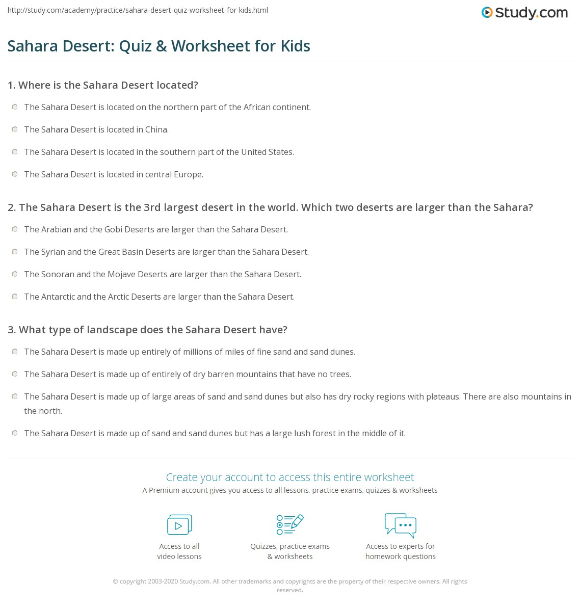 Worksheets Esl Civics Worksheets sahara desert quiz worksheet for kids study com print facts lesson worksheet