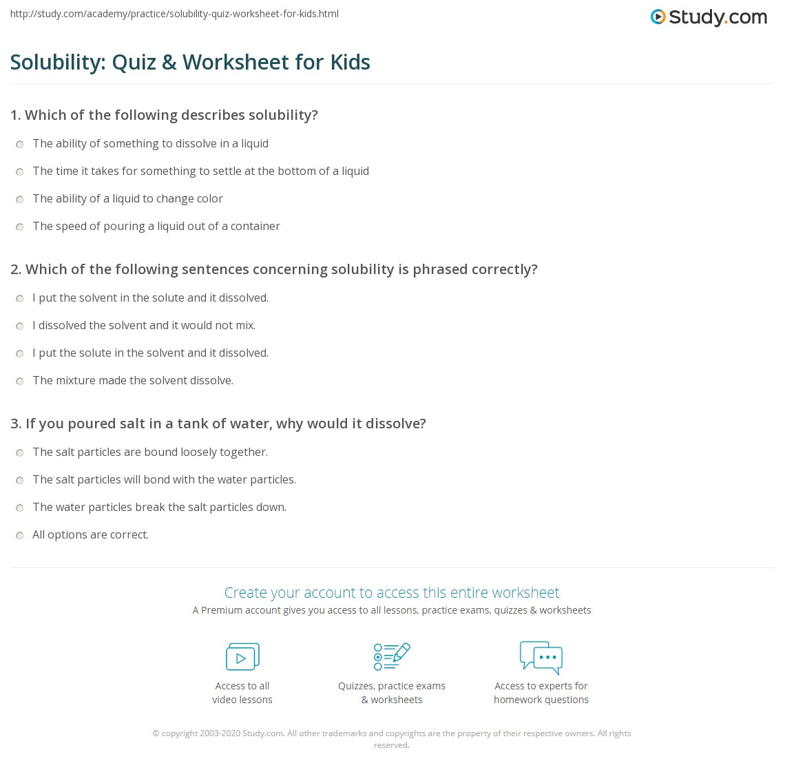 Solubility Quiz Worksheet for Kids – Solubility Rules Worksheet