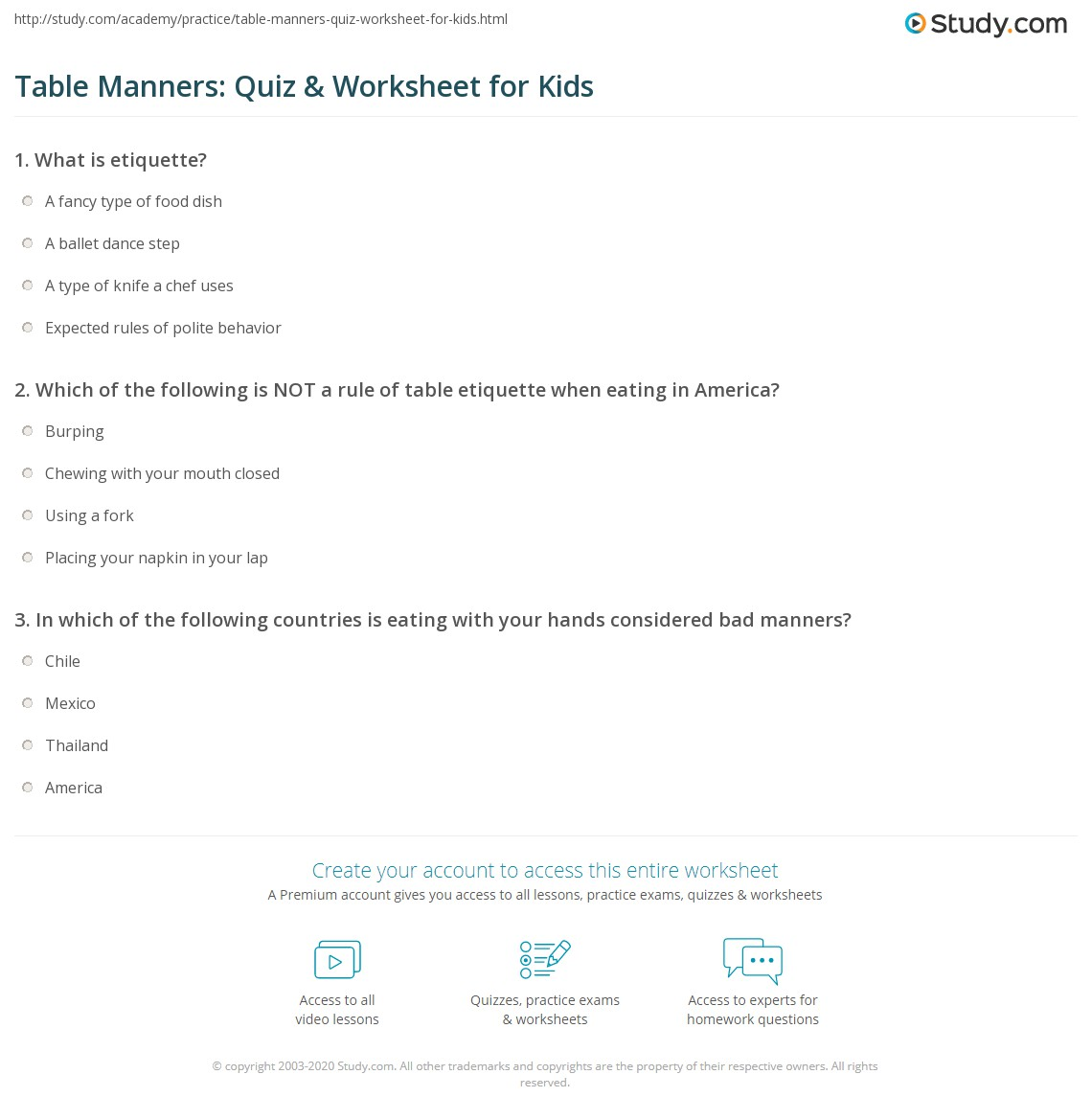 Table Manners Quiz Worksheet for Kids – Manners Worksheet