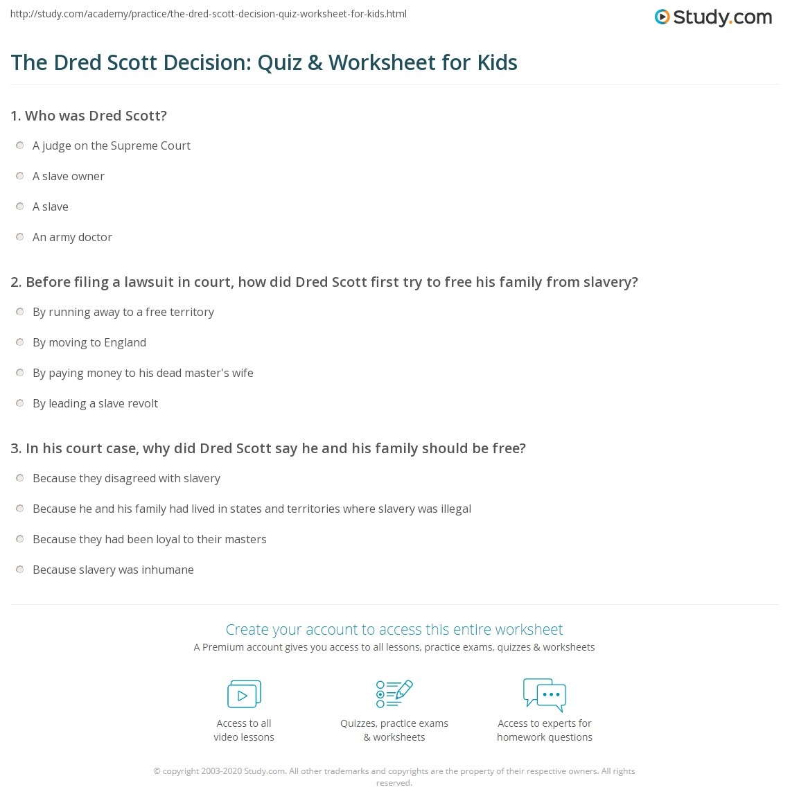 worksheet Dred Scott Worksheet dred scott worksheet garciniapremiums the decision quiz amp for kids study com