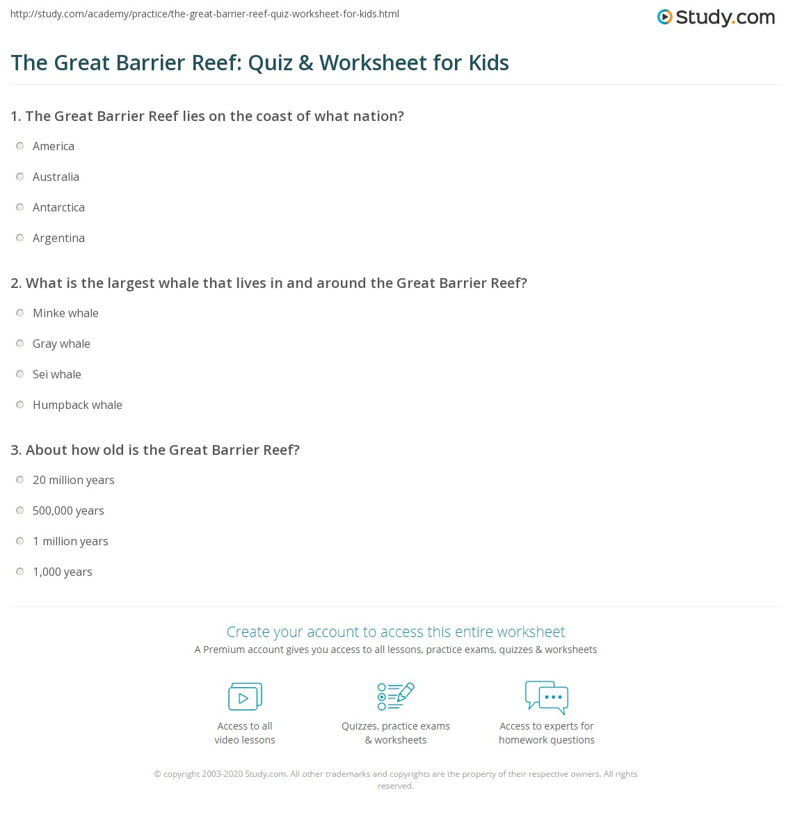 The Great Barrier Reef: Quiz & Worksheet For Kids