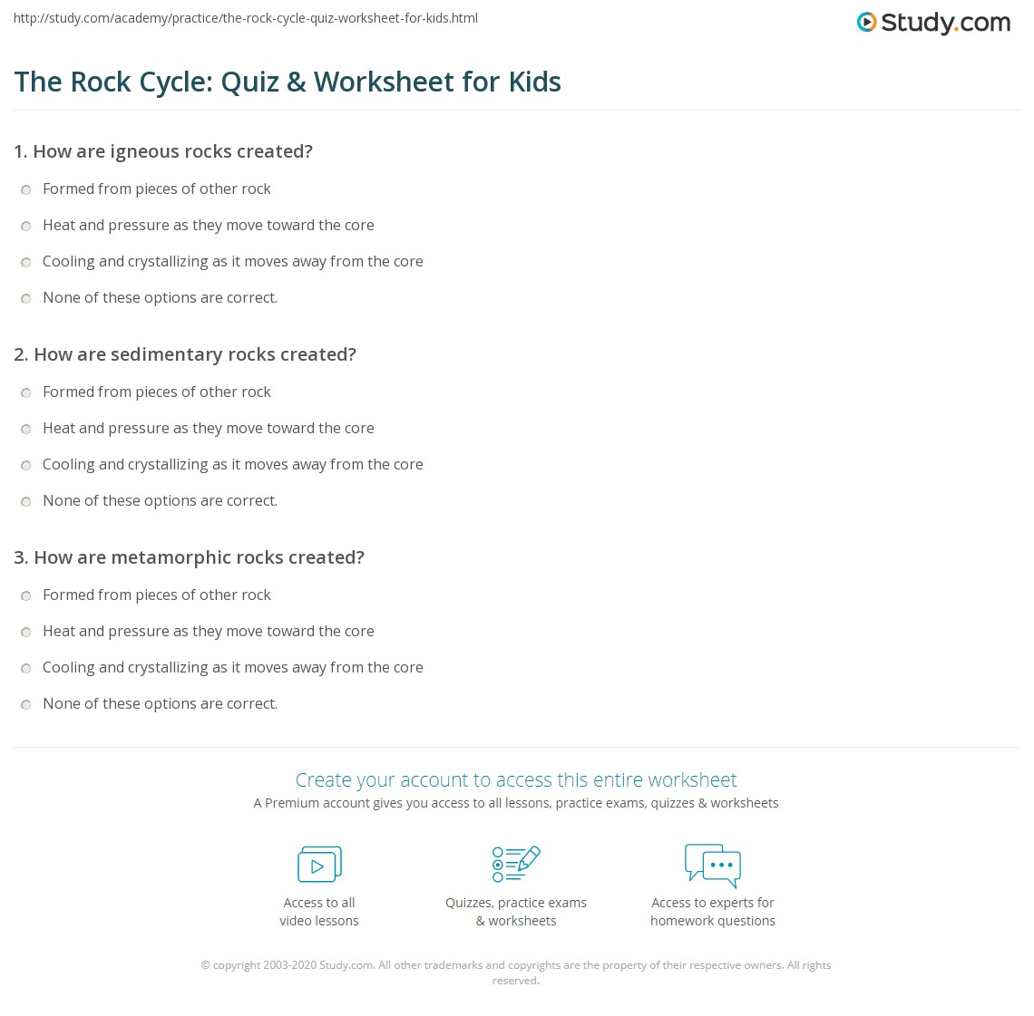 The Rock Cycle: Quiz & Worksheet for Kids | Study.com