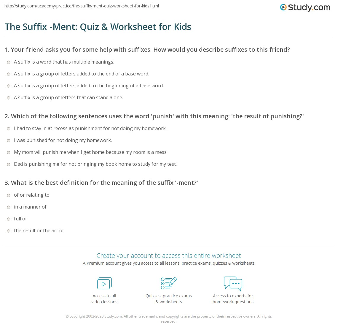 The Suffix Ment Quiz Worksheet for Kids – Punctuating Dialogue Worksheet