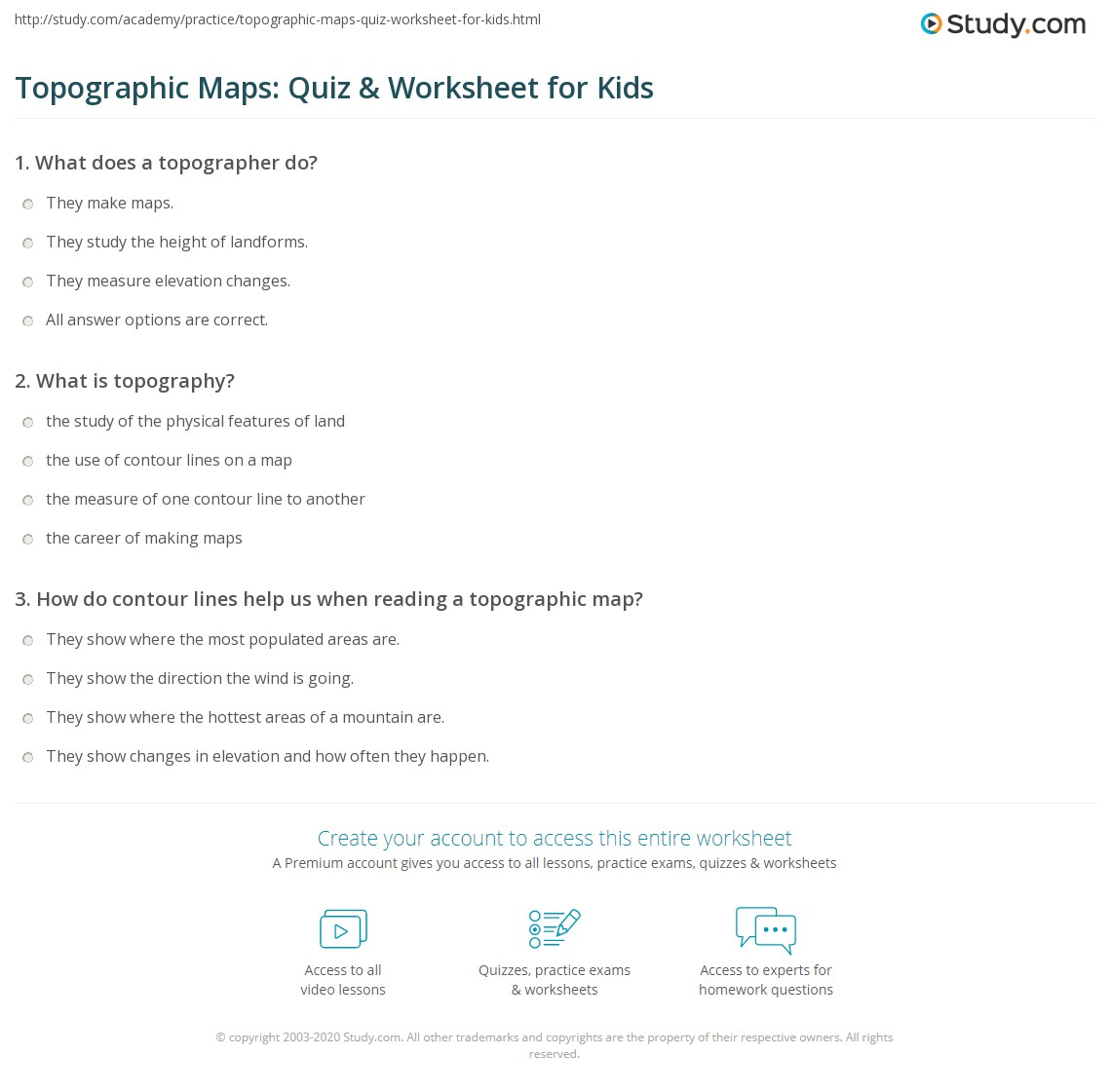 Topographic Maps: Quiz & Worksheet for Kids  Study.com