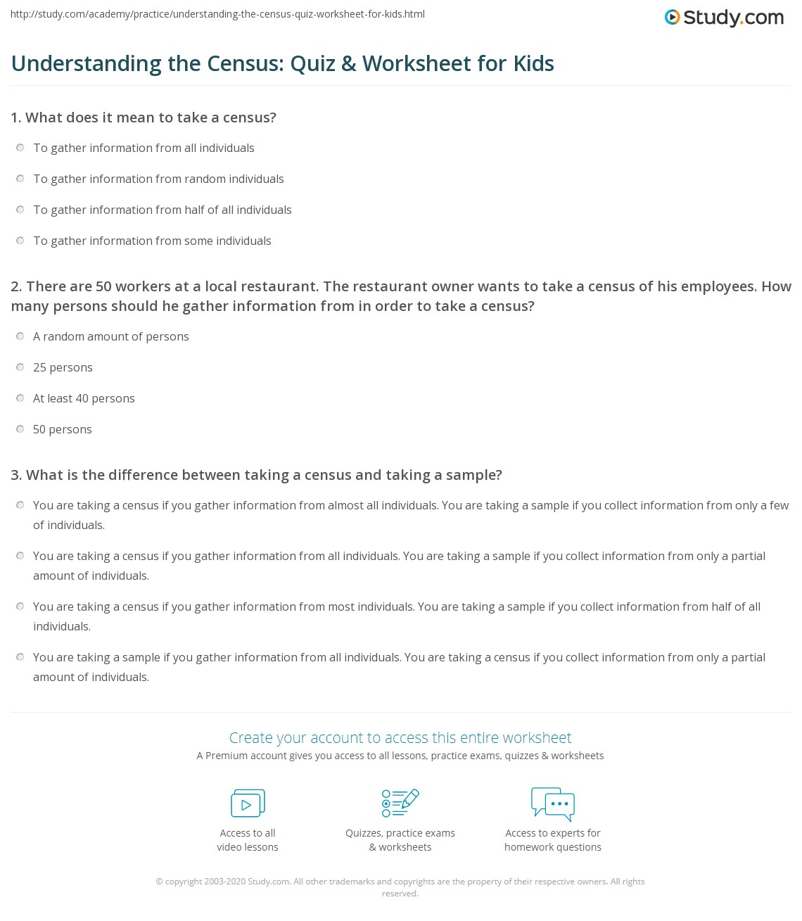 Understanding the Census Quiz Worksheet for Kids – Sample Worksheet