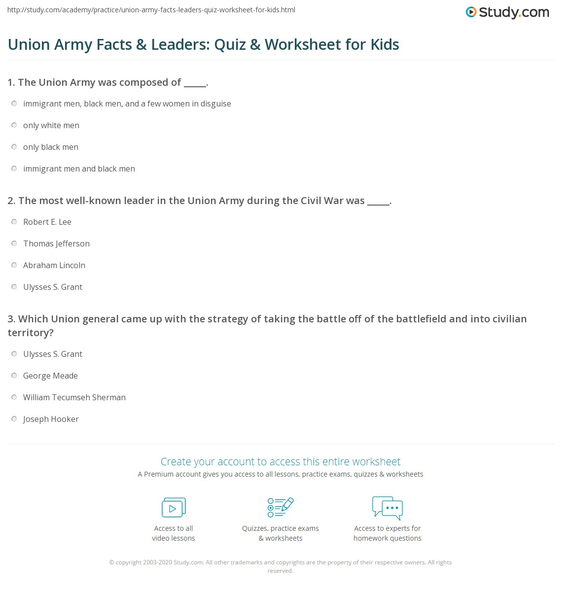 union army facts leaders quiz worksheet for kids. Black Bedroom Furniture Sets. Home Design Ideas