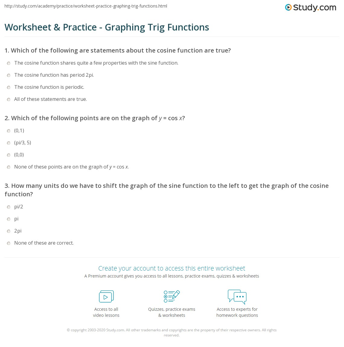 Worksheet & Practice - Graphing Trig Functions | Study.com