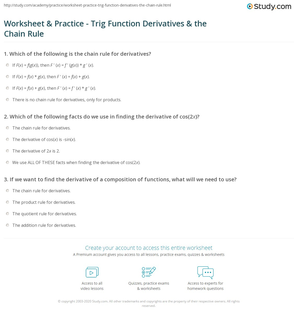 Derivatives Worksheet. Worksheets. Reviewrevitol Free ...