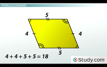 parallelogram with perimeter 18