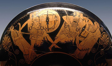 A vase showing Paris and Menelaus in battle, from the Louvre Museum