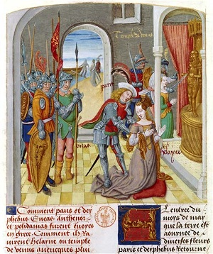 An illuminated manuscript showing the meeting of Paris and Helen