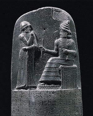 Stele showing Marduk giving the law to Hammurabi