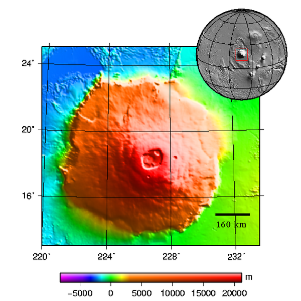 Topography map of Olympus Mons