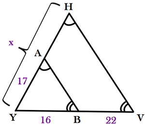 Printables Similar Triangles Worksheet quiz worksheet applications of similar triangles study com triangle hyv and ayb are by the aa similarity theorem what is value x