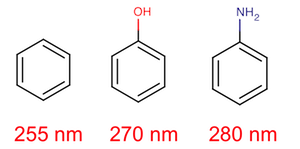 three molecules in series: benzene, phenol and phenylamine