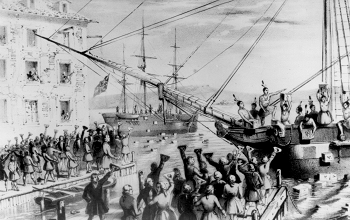 An illustration of the Boston Tea Party