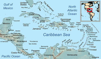 Map of the Caribbean, including the British West Indies