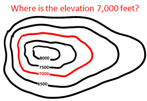 The Red Contour Line Shows Where The Elevation Is 7 000 Feet Above Sea Level