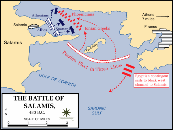 Battle of Salamis Map Map of Island of Salamis