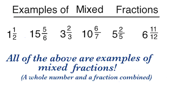 Worksheets Example For Mixed Fraction what is an improper fraction definition example video mixed fractions