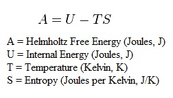 Equation for Helmholtz Free Energy