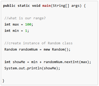 how to create static random integer java