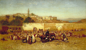 Market Day Outside the Walls of Tangiers, Morocco, 1873