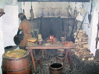 Reconstruction of a medieval kitchen in Castle Rushen, Isle of Man