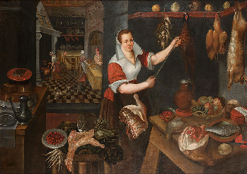 Painting of medieval kitchen by Circle of Jan Baptist Saive II (1563)