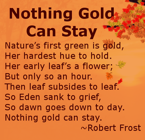 nothing gold can stay essays Robert frost - poet - one of the  if i can leave off burying the white  i went to show you how to make it stay,.