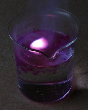 Potassium reacting with water.