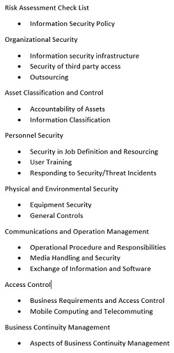 network security risk assessment checklist methodology study com