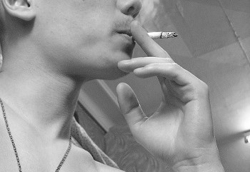 image of a smoking student