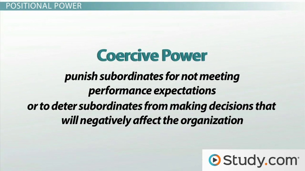 Positional Power: Legitimate, Coercive & Reward Power - Video ...