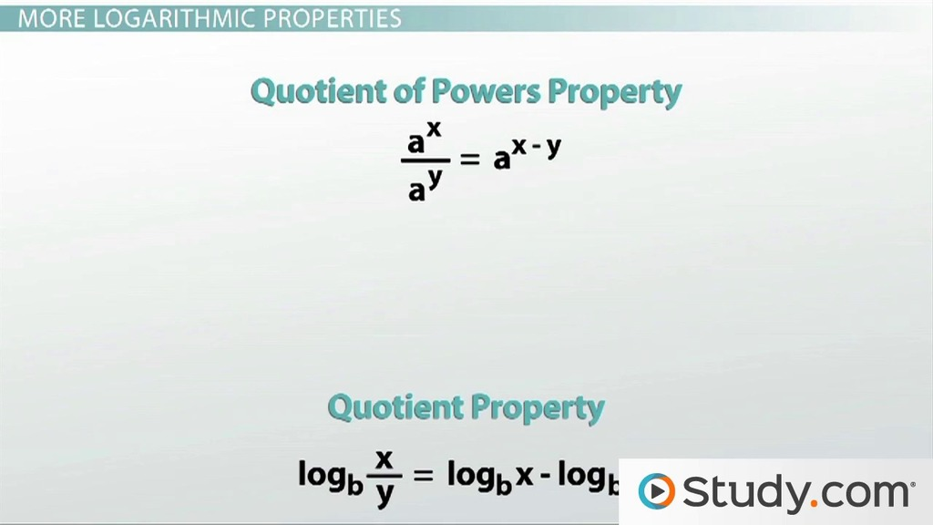 Logarithmic Properties Video Lesson Transcript Study