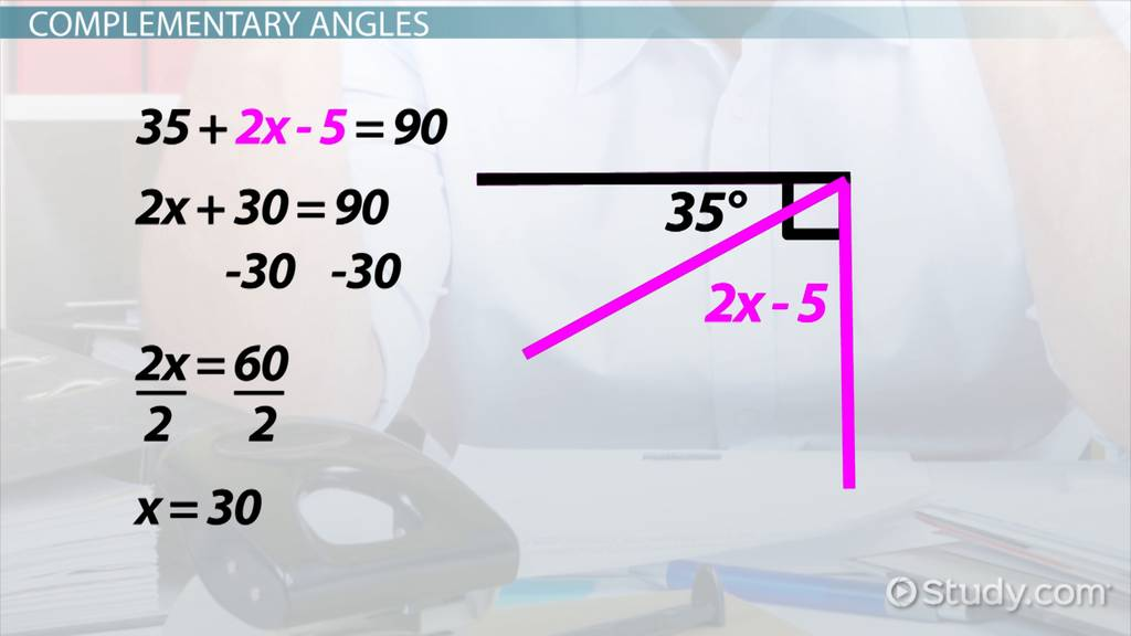 Solving equations with angle relationships video lesson solving equations with angle relationships video lesson transcript study fandeluxe Choice Image